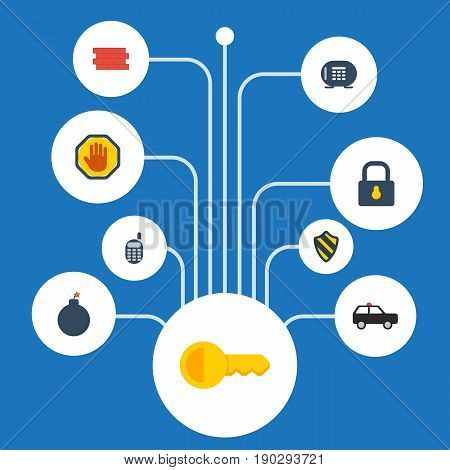 Flat Icons Shield, Armored Car, Brick Wall And Other Vector Elements. Set Of Safety Flat Icons Symbols Also Includes Suv, Safe, Close Objects.