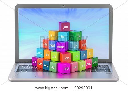 Set of colored cubes with domain names and laptop 3D rendering