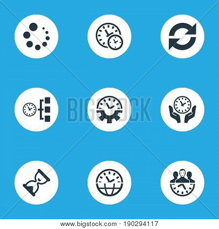 Vector Illustration Set Of Simple Management Icons. Elements Administrator, Loading, Setup Watch And Other Synonyms Sync, Administrator And Grade.