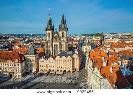 PRAGUE, CZECH REPUBLIC - MAY 2017: Buildings on the Old Town square Staromestska Namesti with Tyn Church in Prague, Czech Republic.