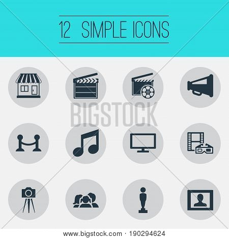 Vector Illustration Set Of Simple Cinema Icons. Elements Oscar, Clapperboard, Production And Other Synonyms Production, Audience And Tripod.