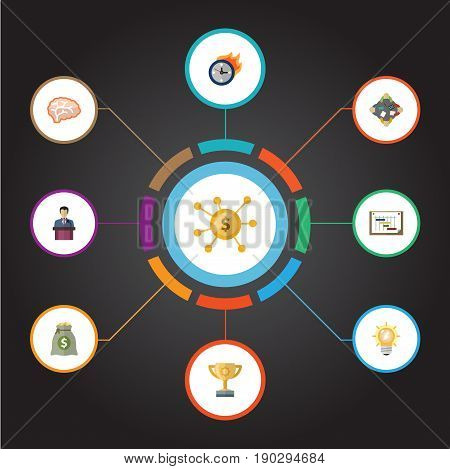 Flat Icons Businessman, Schedule, Arise And Other Vector Elements. Set Of Projects Flat Icons Symbols Also Includes Company, Incentive, Crowdfunding Objects.