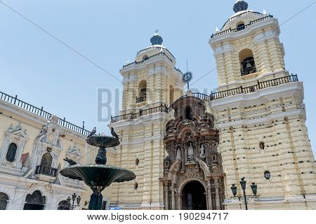 Fontain in front of Church of San Francisco in Lima Peru
