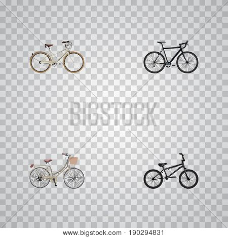 Realistic Old, Cyclocross Drive, Extreme Biking And Other Vector Elements. Set Of Bike Realistic Symbols Also Includes Bicycle, Bike, Retro Objects.