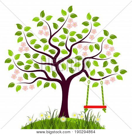vector flowering tree with swing isolated on white background