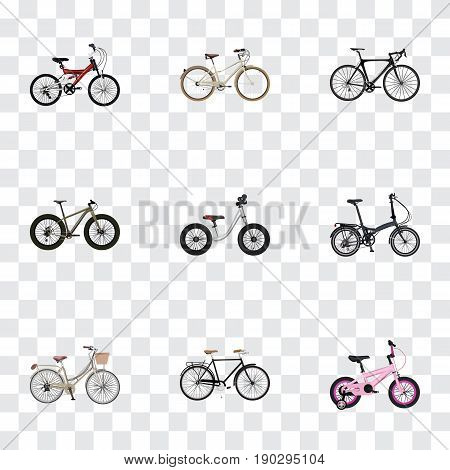 Realistic Bmx, Folding Sport-Cycle, Childlike And Other Vector Elements. Set Of Bicycle Realistic Symbols Also Includes Adolescent, Road, Kids Objects.