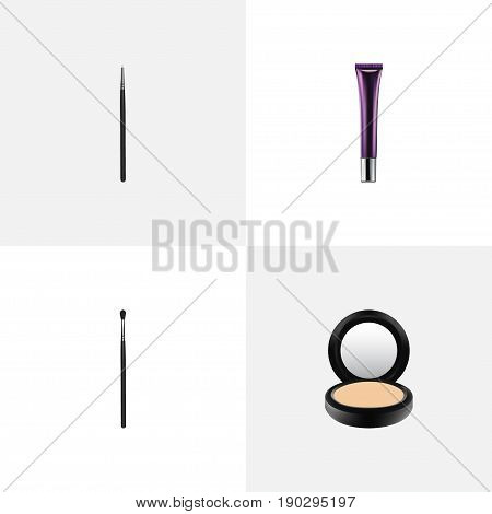 Realistic Cosmetic Stick, Day Creme, Blusher And Other Vector Elements. Set Of Greasepaint Realistic Symbols Also Includes Blending, Contour, Blusher Objects.