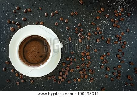 Coffee In White Cup On Black Background.