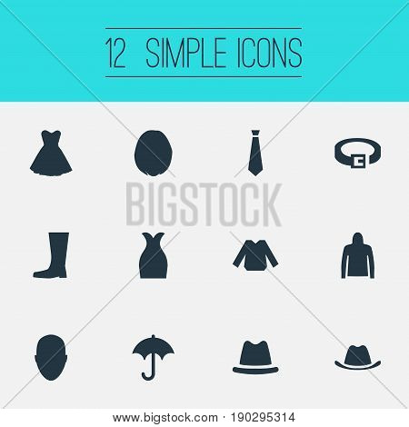 Vector Illustration Set Of Simple Dress Icons. Elements Sweatshirt, Hairdressing, Attire And Other Synonyms Boots, Cloth And Belt.