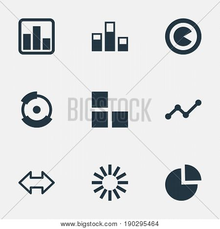 Vector Illustration Set Of Simple Diagram Icons. Elements Bowl, Relation, Reverse Arrows And Other Synonyms Circle, Composition And Lecture.