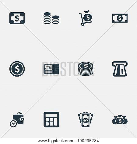 Vector Illustration Set Of Simple Money Icons. Elements Accounting, Economy, Coins Stack And Other Synonyms Sign, Calculator And Exchange.
