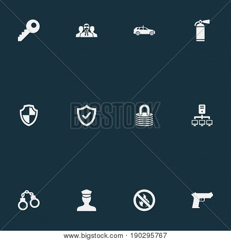 Vector Illustration Set Of Simple Safety Icons. Elements Agent, Shield, Datacenter And Other Synonyms Shackle, Pistol And Strongbox.