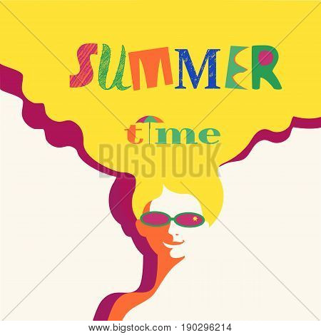 Summer time concept. Hand drawn fancy letters headline. Retro poster in pop art style. Beach season fun rest. Blondy girl. Beautiful young woman in sunglasses. Vector summer holiday vintage background