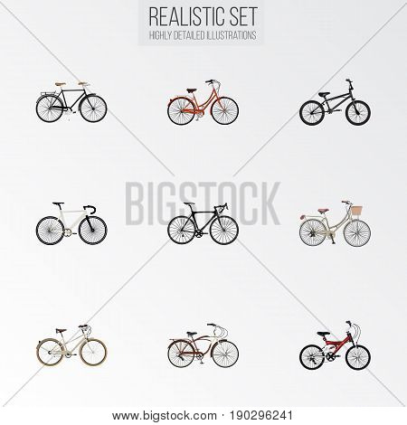 Realistic Journey Bike, Exercise Riding, Road Velocity And Other Vector Elements. Set Of Bike Realistic Symbols Also Includes Vintage, Track, Adolescent Objects.