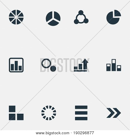 Vector Illustration Set Of Simple Graph Icons. Elements Ahead, Data, Line Chart And Other Synonyms Statistic, Analytic And Contour.