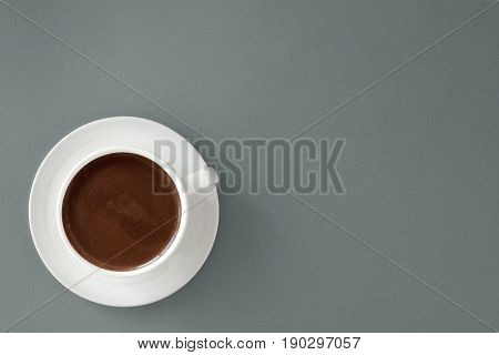 Coffee In White Cup On Gray Background.