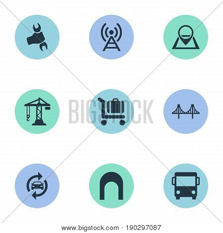 Vector Illustration Set Of Simple Transportation Icons. Elements Auto Service, City Bus, Navigation And Other Synonyms Workshop, Antenna And Crane.