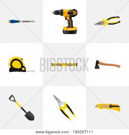 Realistic Electric Screwdriver, Hatchet, Plumb Ruler And Other Vector Elements. Set Of Tools Realistic Symbols Also Includes Tool, Electric, Cutter Objects.