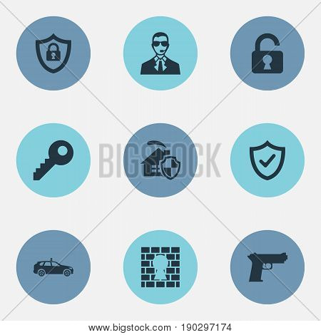 Vector Illustration Set Of Simple Secure Icons. Elements Approve, Key, Bodyguard And Other Synonyms Agent, Password And Man.
