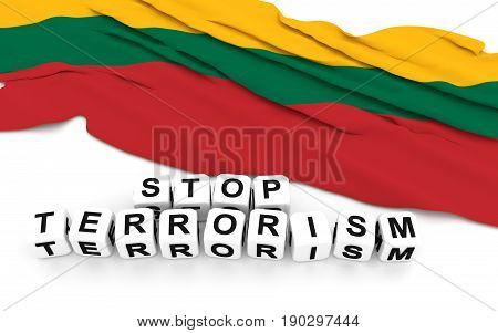 Lithuanian Flag And Write Stop Terrorism.