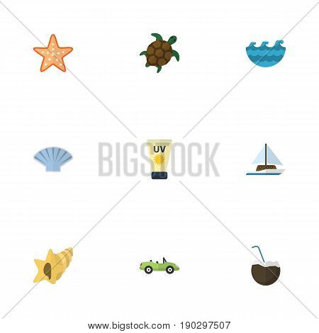 Flat Icons Shell, Cocos, Sailboard And Other Vector Elements. Set Of Season Flat Icons Symbols Also Includes Shell, Sail, Palm Objects.