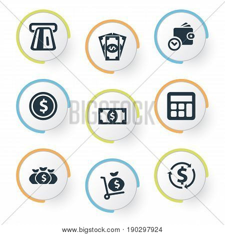 Vector Illustration Set Of Simple Banking Icons. Elements Accounting, Revenue, Terminal And Other Synonyms Accounting, Terminal And Trolley.