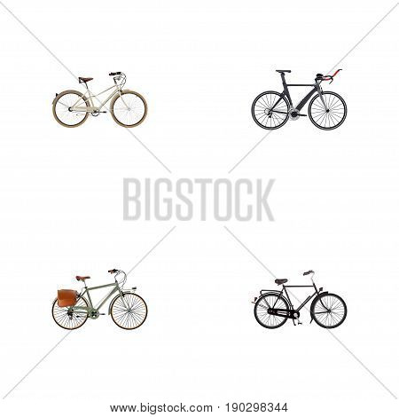 Realistic Working, Old, Training Vehicle And Other Vector Elements. Set Of  Realistic Symbols Also Includes Bike, Retro, Postman Objects.