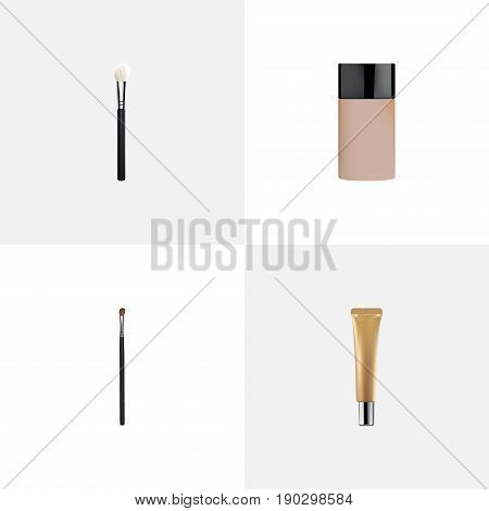 Realistic Concealer, Collagen Tube, Eye Paintbrush And Other Vector Elements. Set Of Maquillage Realistic Symbols Also Includes Skincare, Foundation, Concealer Objects.