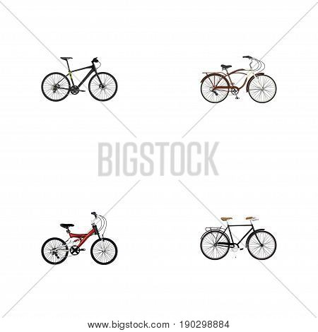 Realistic Journey Bike, Hybrid Velocipede, Adolescent And Other Vector Elements. Set Of Bicycle Realistic Symbols Also Includes Training, Cruise, Bicycle Objects.