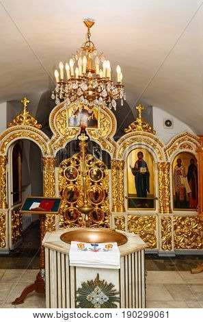 Interior of the Orthodox Russian Church. Baptism in the church.