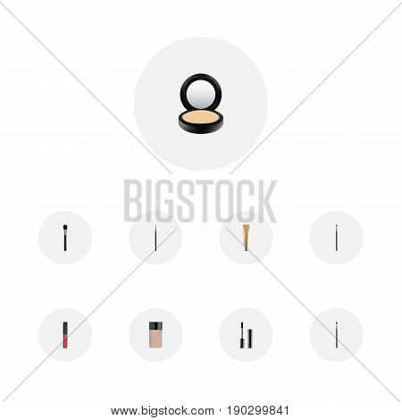 Realistic Liquid Lipstick, Beauty Accessory, Blusher And Other Vector Elements. Set Of Maquillage Realistic Symbols Also Includes Ink, Powder, Skincare Objects.
