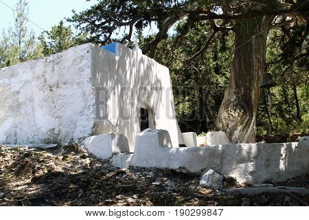 Church of Our Lady of Cypress (Melissina Zia) in the village of Zia. Kos