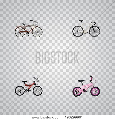 Realistic Childlike, Road Velocity, Journey Bike And Other Vector Elements. Set Of  Realistic Symbols Also Includes Childlike, Bicycle, Cruise Objects.