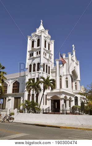Key West Florida Keys Florida USA - May 15 2017 : St Paul's Episcopal Church in Key West the oldest in Florida Diocese