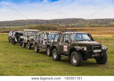 Lviv Ukraine - April 18 2015: Off-roads racers local commands preparing to start overcome route around Lviv.Ukraine
