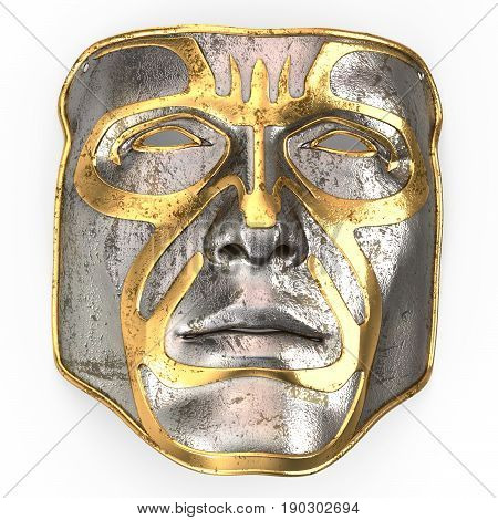 Iron mask on face, with gold inserts . 3d illustration