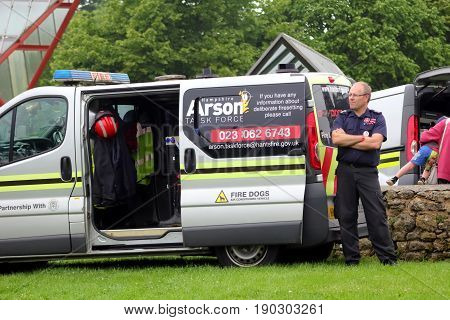 Beaulieu, Hampshire, Uk - May 29 2017: Fire Sniffer Dog Van And Officer Belonging To The Hampshire A
