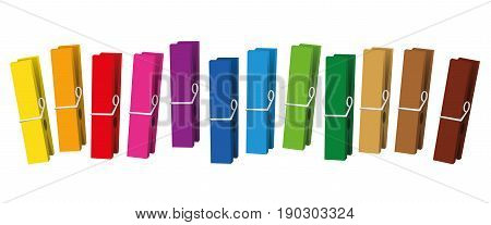 Clothes pegs - colored clothespins collection loosely arranged - isolated vector on white background.