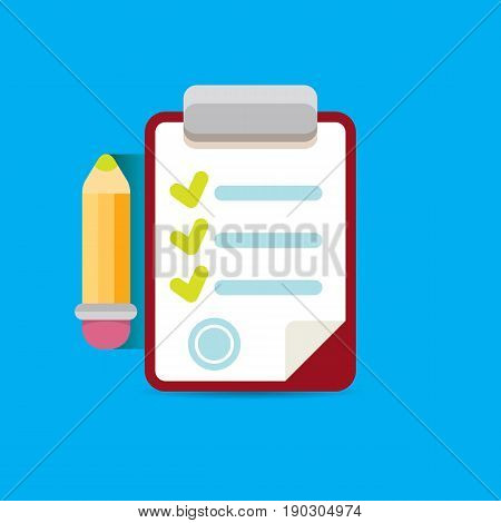 vector Clipboard icon with green checkmarks and otange pencil on blue background. Checklist vector flat style symbol