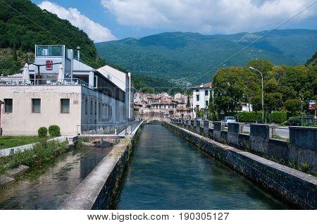 27 may 2017-vittorio veneto-italy-Water channel in the city of Vittorio Veneto