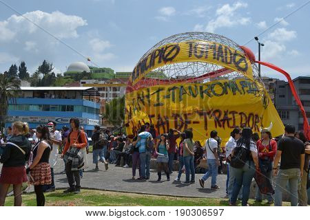 QUITO, ECUADOR - JANUARY 28, 2016: An unidentified people in quito ecuador, march protesters in an anti bullfightting in an arbolito park.