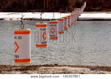 The buoys in Class 3 Rapids Warning System