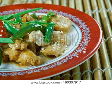humo Grilled chicken breast. Uighur cuisine. close up