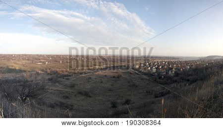 Panoramic rural evening landscape in Krivoy Rog in Ukraine