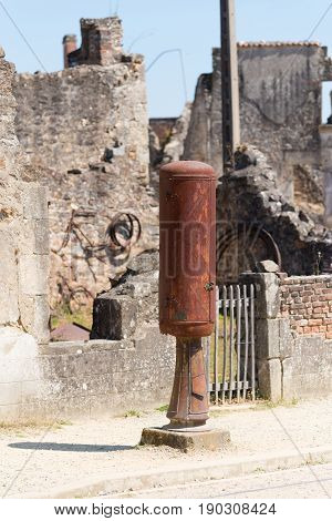 The ruins of Oradour-sur-glane the by the nazis destroyed french village in WW2 poster