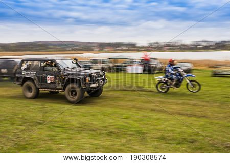 Lviv Ukraine - April 18 2015: Off-road vehicles and motorcycle during non-professional competition around Lviv.Ukraine