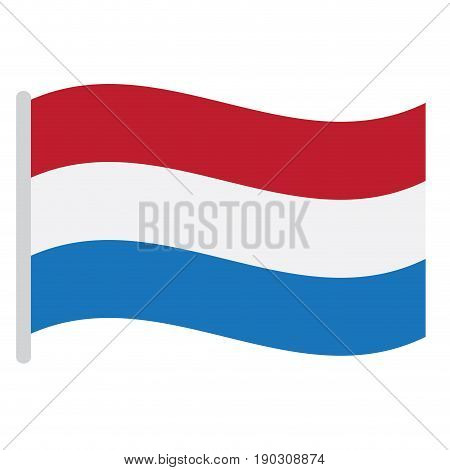 Isolated Dutch flag on a white background, Vector illustration