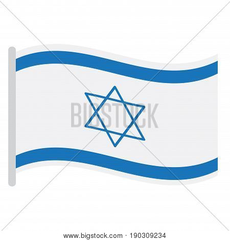 Isolated Israeli flag on a white background, Vector illustration