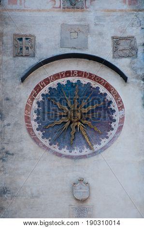 27 may 2017-vittorio veneto-Beautiful and ancient clock on a palace