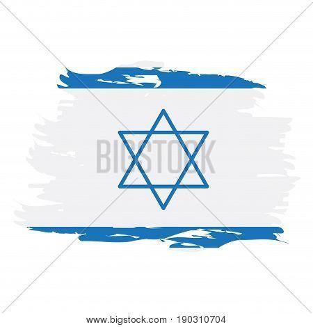 Isolated grunge textured Israeli flag, Vector illustration